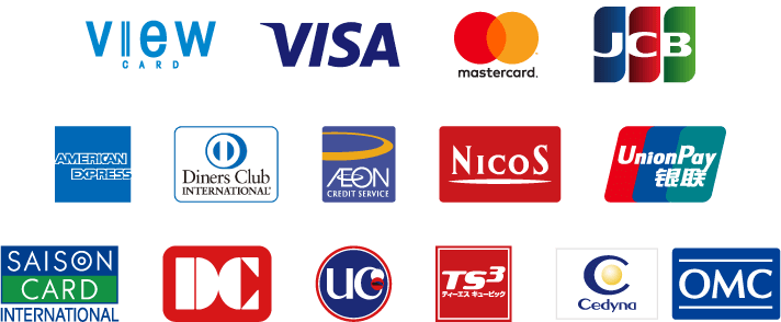 We accept the following credit cards.